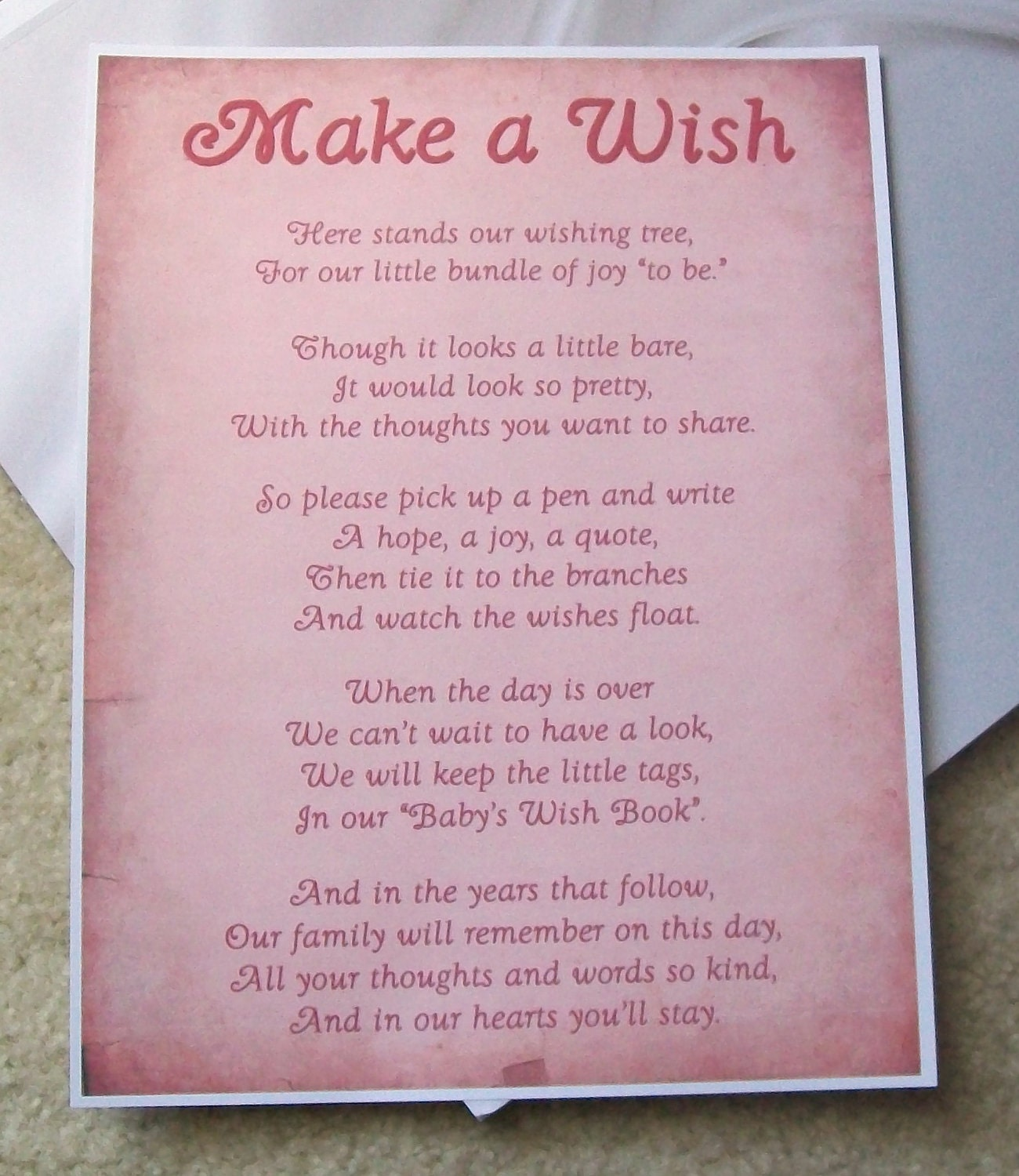 Baby Gift List Poem : Wishing tree tags instructions sign baby shower