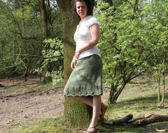 PDF knitting pattern skirt, midi, aline, lace, aran: Hessian in 7 sizes XS-XXXL