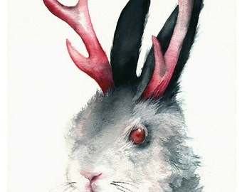 "Rabbit, Jackalope Art- ""Jack""  watercolor print, Jackalope art, Rabbit painting"