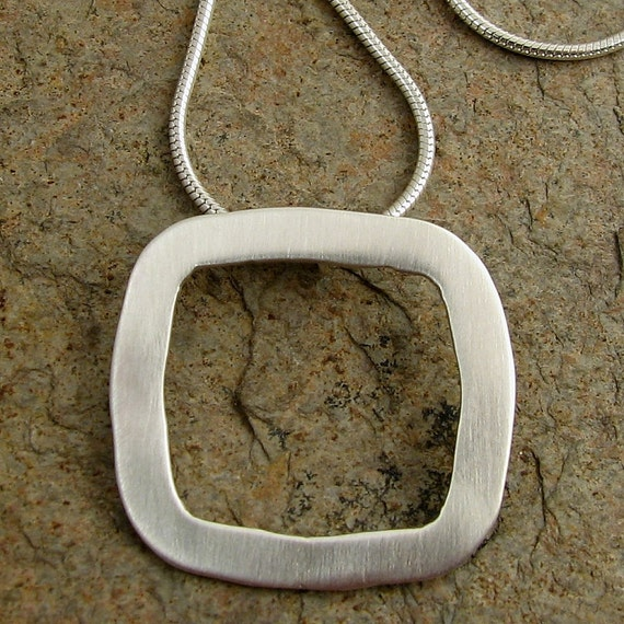Handmade Sterling Silver Necklace Contemporary Hammered Square Silver Pendant Minimalist Modern Geometric Jewelry