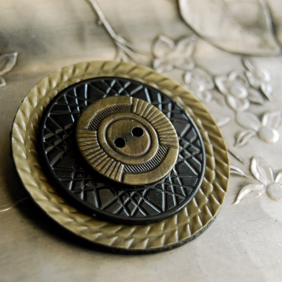 Vintage Button Brooch Mandala Celluloid Button Jewelry, Gray Black Eco Friendly