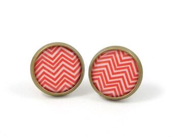 Chevron Stud Earrings,Red Earring Posts,Red White Chevron Earrings,Chevron Jewelry,Geometric Jewelry,Red Jewelry (E098)