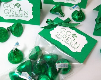 St Patricks Day Party Favors, St Patricks Day Candy Bags, Personalized Treat Bags and Toppers, St Patrick's Day School Treats, Go Green
