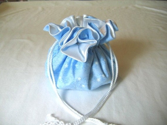 Sky Blue Jewelry Tote With White Stars