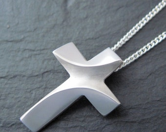 Sterling Silver RIVER JORDAN CROSS Necklace with Chain Spiritus Christian Jewelry