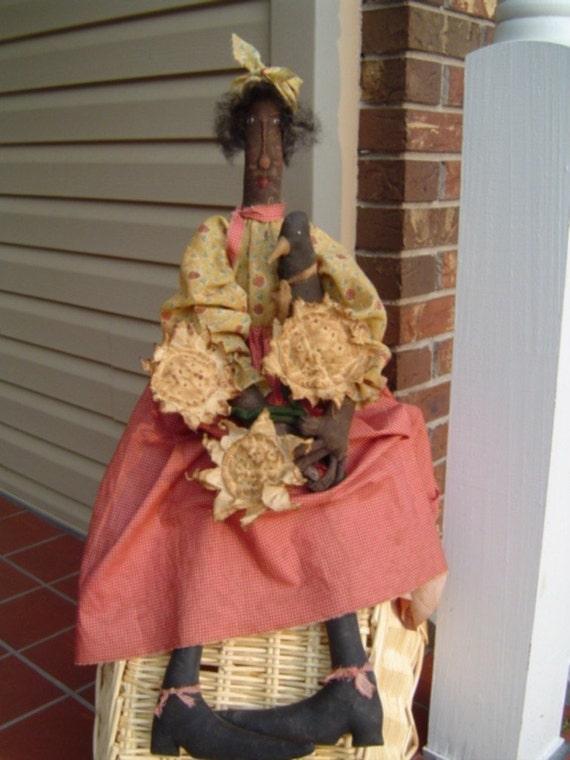 Primitive Black American Folk Art Doll e-Pattern Plant Garden Raggedy Rhondas faap hafair