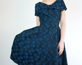 1950s Dress • 50s Dress • 50s Cocktail Dress • Novelty Print Dress • Party Dress • Designer Dress • Vintage Blue Dress • Minx Modes Dress