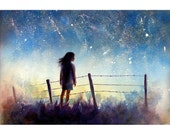 the Starry Night  -  watercolor painting print  - Alisa Wilcher - 12 x 8