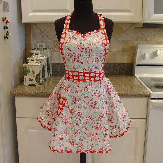 Flirty Chic Apron . . . birdy in white with lantern in red trim