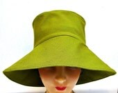 Retro Sun Hat in Cilantro Canvas - Made to Order in Your Size