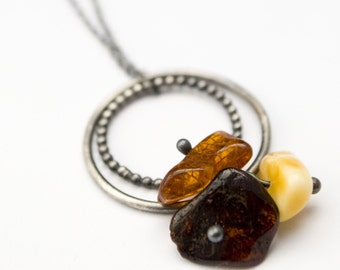 Trio Baltic Amber with sterling silver circles (patina) - necklace
