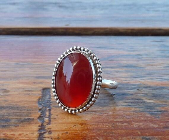 Carnelian ring, Gemstone ring, Cocktail ring, Statement ring,  Oval Orange Brown stone Sterling silver ring