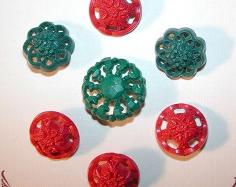 Green and Red Buttons, Seven 1940s Buttons, Red & Green Vintage Buttons