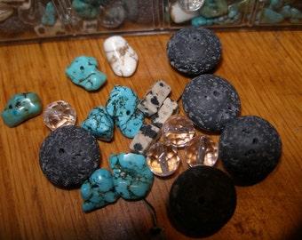 Semiprecious stone beads (35)  black lava. faceted crystal, dalmation jasper, turquoise howlite   paganteam, TeamESST, OlympiaEtsyTeam, WWWG