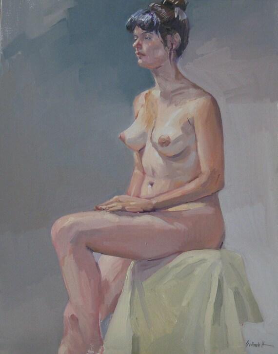 "Sale! Nude art female figure painting portrait ""Miranda in August"" original oil 14x18"" Free Shipping"
