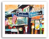 "New Orleans French Quarter Art Mardi Gras Bourbon and Toulouse Street Signs 11x14"" and 13x19"" Signed, Numbered Buy Any Two Get One Free"