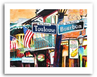 New Orleans French Quarter Art Mardi Gras Bourbon and Toulouse Street Signs Print Signed and Numbered