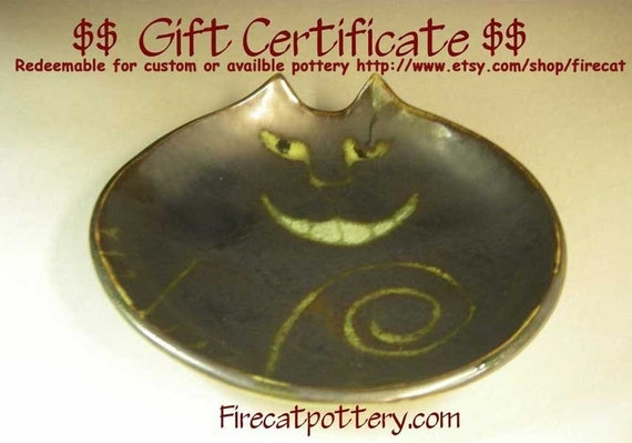 Pottery Gift Certificate for handmade designer gift for currently available pottery in shop