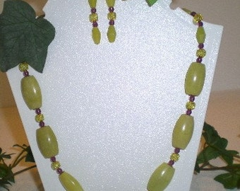 Olive Jade and Amethyst Necklace Earrings