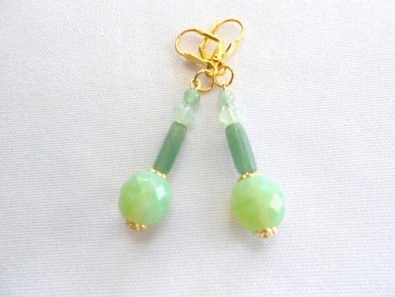 SUPER SALE 50% Off Green Mint Aventurine Earrings with Swarovski