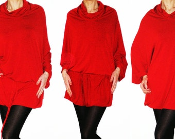 Convertible Wrap Infinity Multi - way dress or Tunic in Red jersey - more than 18 ways to wear, No.1