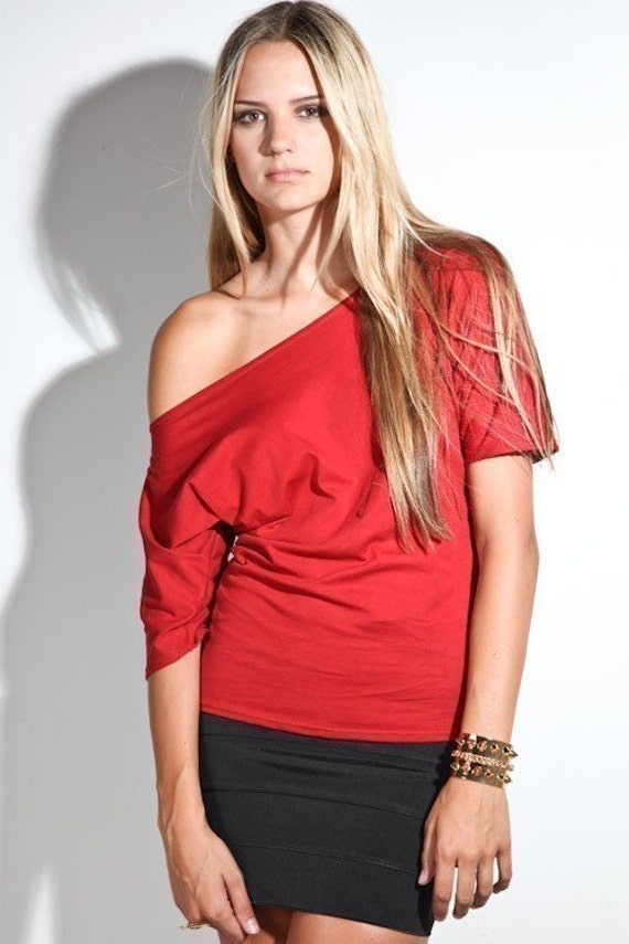 Womens Clothing Tshirt Off The Shoulder Top Red Medium