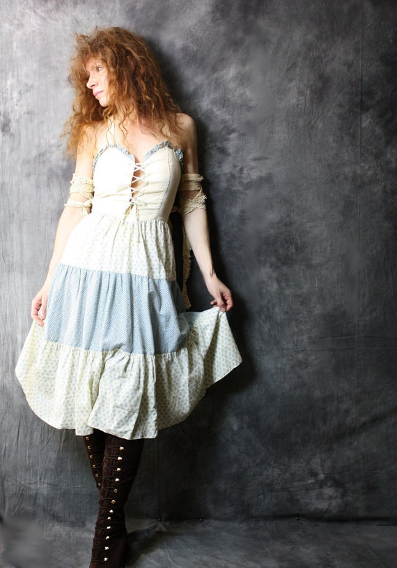 SALE 30.00 Vintage 1970s Dress Sweetheart Corset Prairie Halter Sun Dress Tiered Ruffle Hem