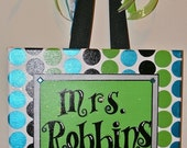 Personalized, Hand Painted Canvas Wall Art (11x14 aqua, lime, black dots)