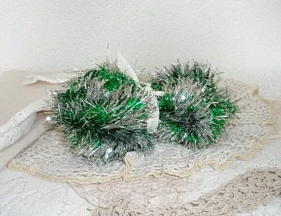 Silver and green christmas tinsel garland vintage banner