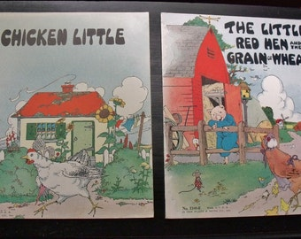 Chicken Little and The Little Red Hen and the Grain of Wheat - 1932 Platt & Munk softcovers - Excellent condition
