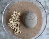 Rounded Grey Beach Stone Jizo Bodhisattva