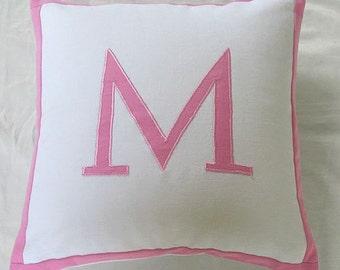 PERSONALIZED PILLOW Monogram pillow Initial pillow, Alphabet pillow Nursery Decor Custom Made Pillow Cover.