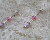 SWEET PEA Kid's Earrings With Freshwater Pearls, Swarovski Crystals & Czech Glass On Sterling Silver Posts   -On Sale-