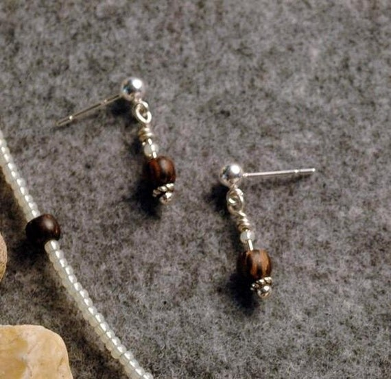 TOPPER Earrings With Striped Wood & Czech Glass On Sterling Silver Posts