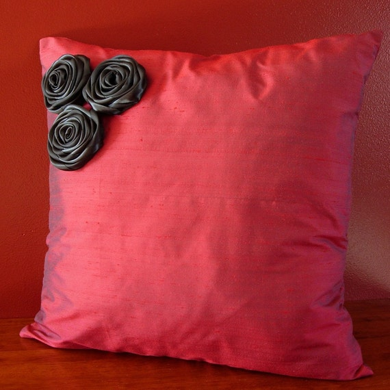 Decorative Pillow cover Red and black Silk Throw pillows Black fabric flower bouquet Fabric roses Gothic - 18x18 - Ready to ship