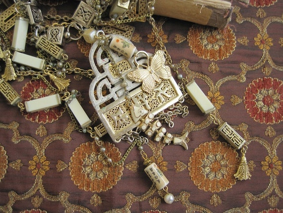 Treasures of the Orient: Asian Necklace Vintage Assemblage Exotic Far East Necklace Multi Chain Statement One of a Kind ooak Morticia Snow