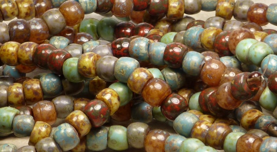 9mm Opaque Bohemian Picasso Mix Glass Bead 7 Inch Strand (A124)