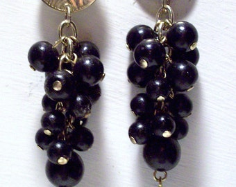 Vintage Gold tone Black Bobble Beads Dangle Earrings