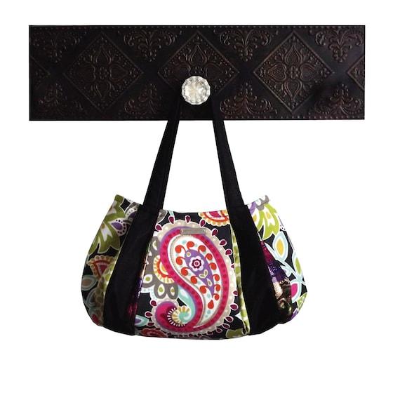 "Purse & shoulder bag : Medium Hobo - pink black purple orange paisley colorful - ""DRAGONFRUIT TEA"" handmade"