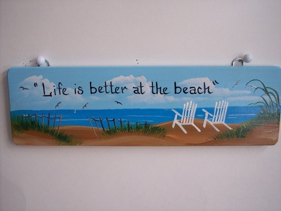 Hand Painted Beach Sign***Beach Chair Handpainted Sign***** You Can Personalize the Sign