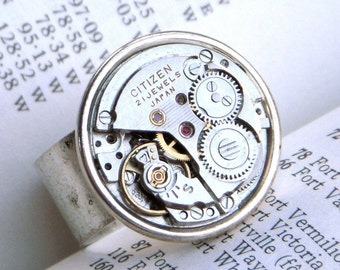 Round Steampunk Ring Silver Plated Wide Band Vintage Watch Movement Citizen Japan Round Watch Movement Unisex Rustic Finish Vintage Style