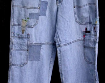 the Artist ,patched embroidered denim, Resurrected Jeans, painters pants, upcycled Action Ready Wearfirst, boho, festival