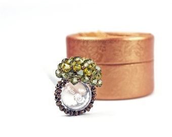 Beaded Swarovski Crystal Ring, Handwoven Unique Crystal Ring, Bead-woven Swarovski Ring, Handwoven Crystal Ring, green bronze