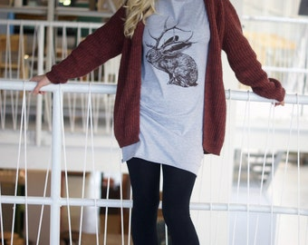 Jelk Jackalope tshirt dress - eco-friendly brown ink screenprint on heather grey cotton - sizes S, M, L