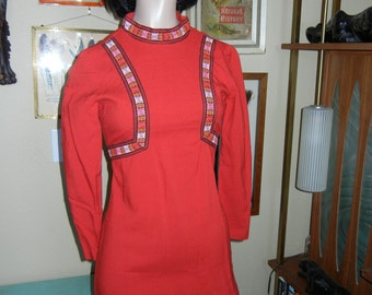 red embroidered mini dress xs