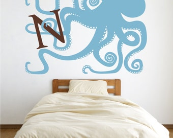 octopus monogram vinyl wall decal,  large octopus sticker art, initial, monogram wall art, FREE SHIPPING