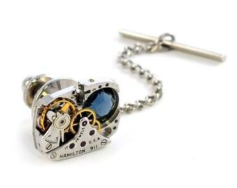 1940's Hamilton Watch n Montana Crystal Steampunk Tie Tack Pin Chain Clip