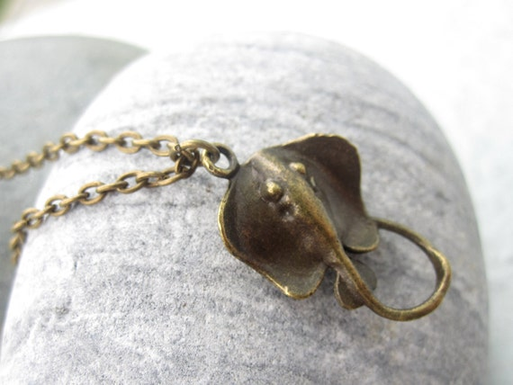SALE - Sting Ray Necklace Mens Pendant Necklace Men Jewelry Unisex Jewelry