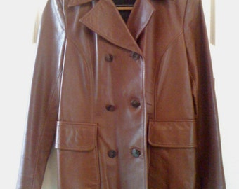 Now On Sale Vintage 1980's Carlise Leather Jacket/ Coat Chocolate Brown/ Mod Chic double breasted, Lamb Skin Coat  M/L