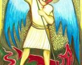 Saint Michael Archangel - Catholic Art - Catholic Gift for Him - Confirmation Gift for Boys - FREE SHIPPING